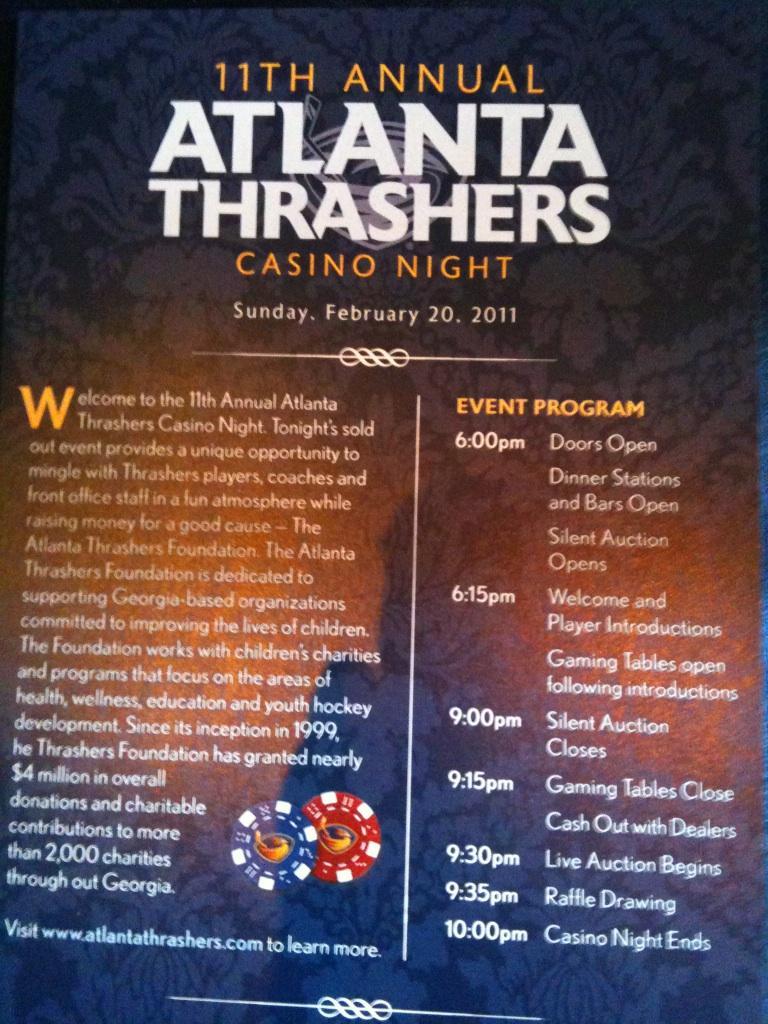 Atlanta thrashers casino night grand villa casino restaurant